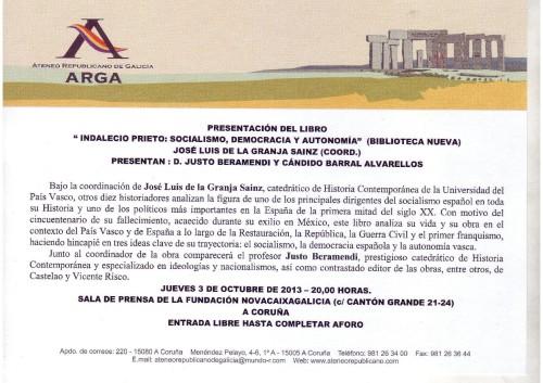 Presentación del libro sobre Indalecio Prieto en La Coruña