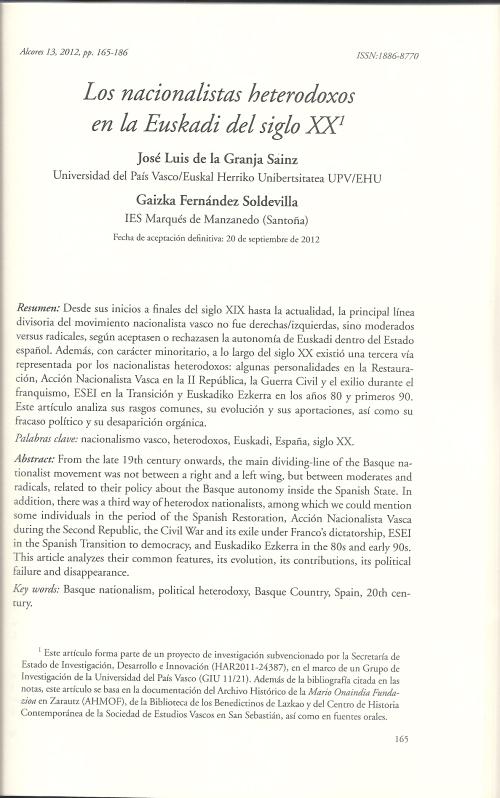 Los nacionalistas heterodoxos en la Euskadi del siglo XX