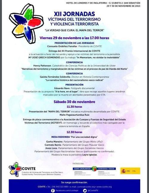 Programa de las XII Jornadas de COVITE en San Sebastián