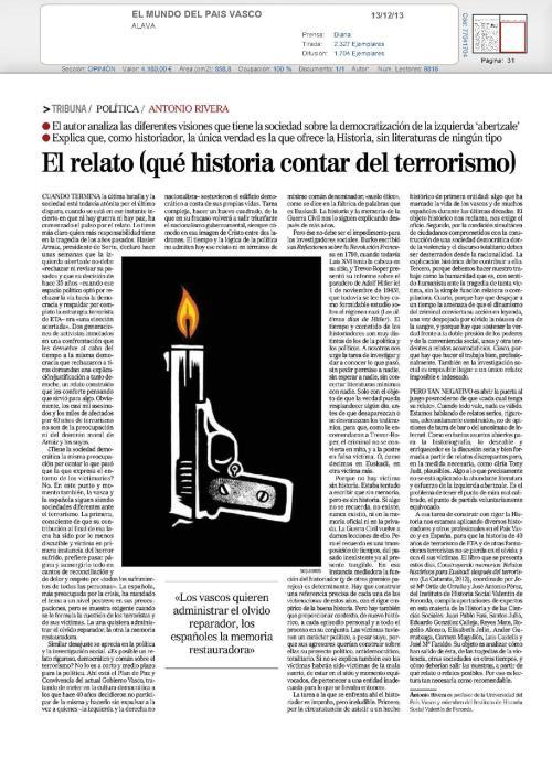 Artículo de Antonio Rivera sobre el relato del terrorismo