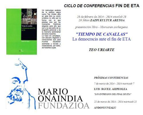 La Mario Onaindia Fundazioa organiza un ciclo de conferencias sobre el fin de ETA