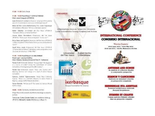 """Congreso Internacional """"Himnos y canciones: símbolos de identidad colectiva en perspectiva comparada"""" (Vitoria, 22-23 de Mayo 2014)"""