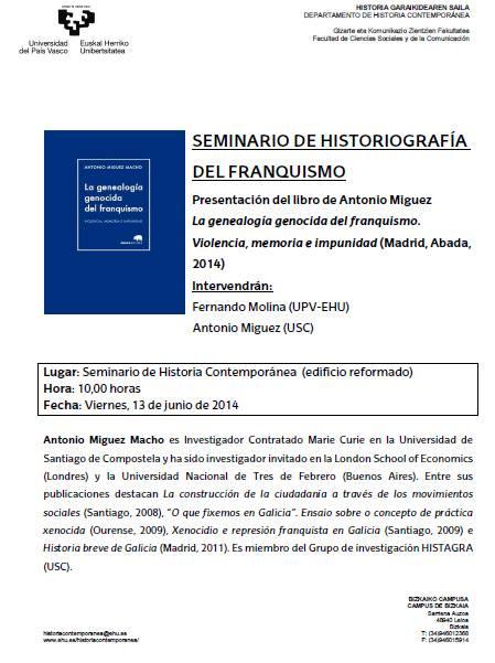 Presentación del libro LA GENEALOGÍA GENOCIDA DEL FRANQUISMO. VIOLENCIA, MEMORIA E IMPUNIDAD