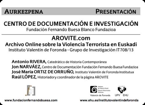 Presentación del Centro de Documentación de la F. Fernando Buesa y de AROVITE