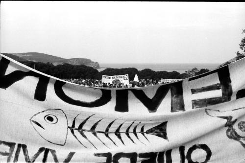 Mikel Alonso 29.08.1976.Manifestacio--n contra CN. Lemoniz  en Plencia y Go--rliz. A1.1