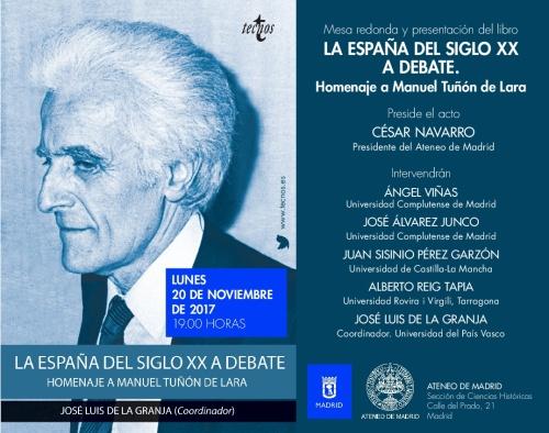 Presentación del libro La España del siglo XX a debate en el Ateneo de Madrid (1)-001