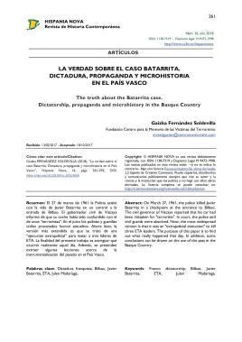 La verdad sobre el caso Batarrita. Dictadura, propaganda y microhistoria en el País Vasco = The truth about the Batarrita case. Dictatorship, propaganda and microhistory in the Basque Country.jpg
