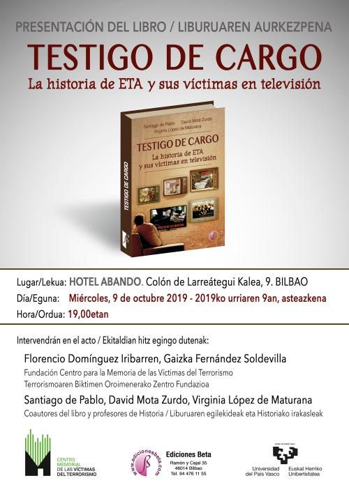 CARTEL PRESENTACION TESTIGO DE CARGO Bilbao