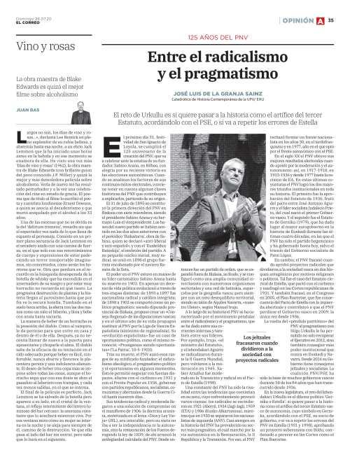 125 años del PNV. Entre el radicalismo y el pragmatismo, El Correo, 26-7-2020-1